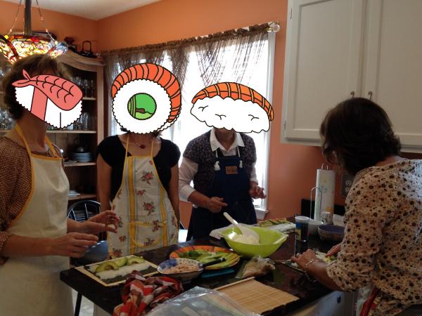 寿司を作る女性達