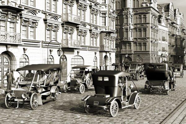 Belle Epoque , city and autos retro vintage