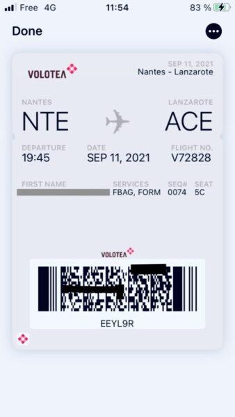 ボロテア空港電子搭乗券